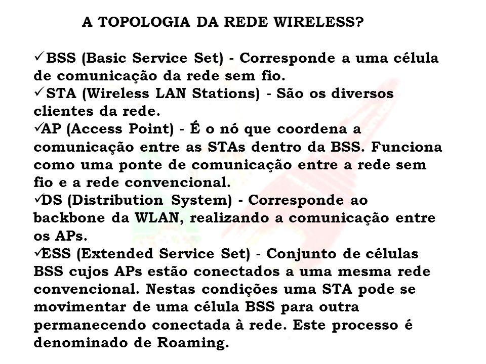 A TOPOLOGIA DA REDE WIRELESS? BSS (Basic Service Set) - Corresponde a uma célula de comunicação da rede sem fio. STA (Wireless LAN Stations) - São os