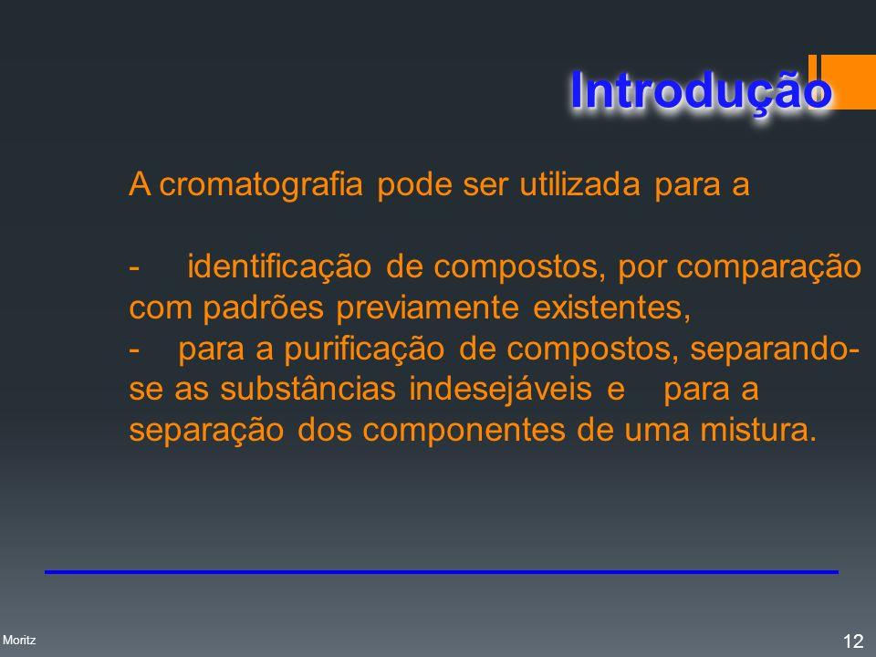 A cromatografia pode ser utilizada para a - identificação de compostos, por comparação com padrões previamente existentes, - para a purificação de com