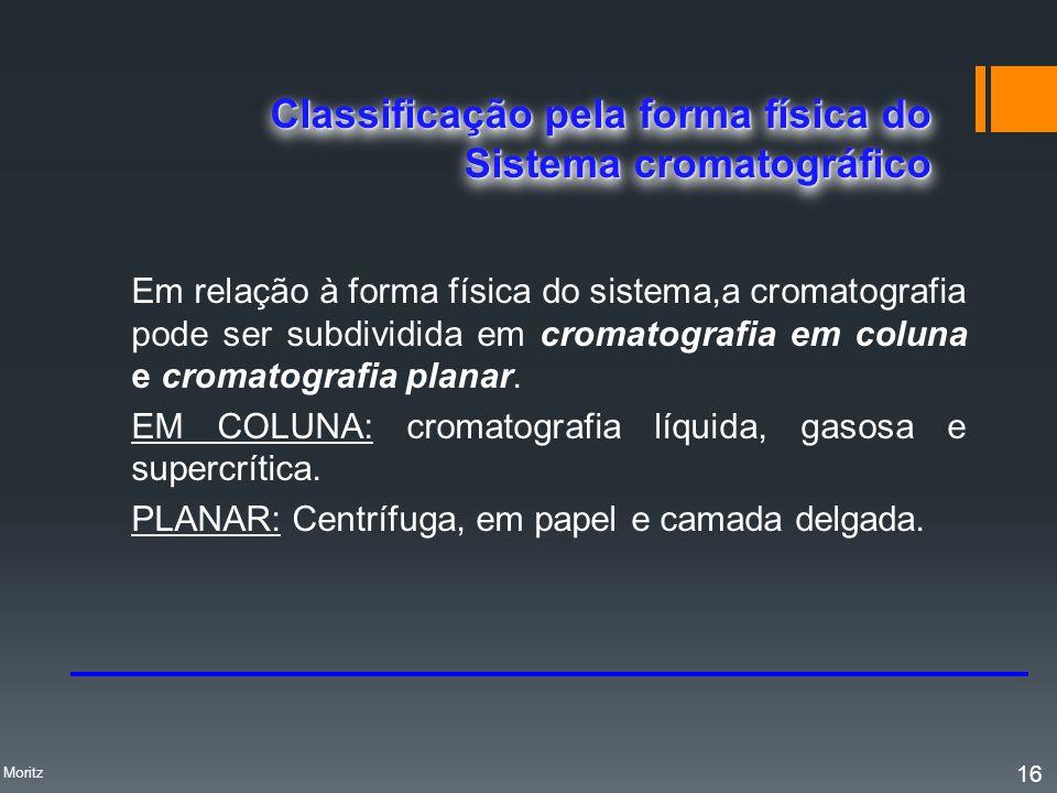 Em relação à forma física do sistema,a cromatografia pode ser subdividida em cromatografia em coluna e cromatografia planar. EM COLUNA: cromatografia