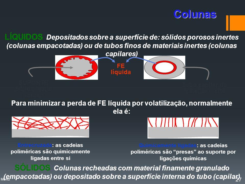 LÍQUIDOS Depositados sobre a superfície de: sólidos porosos inertes (colunas empacotadas) ou de tubos finos de materiais inertes (colunas capilares) F