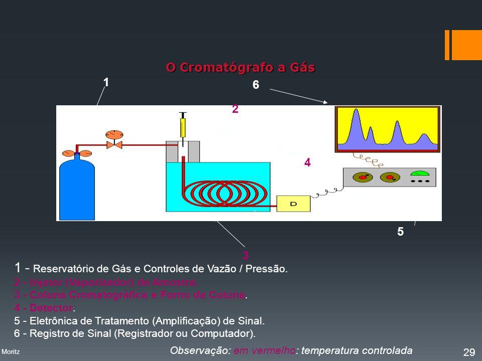 O Cromatógrafo a Gás 1 2 3 4 6 5 1 - Reservatório de Gás e Controles de Vazão / Pressão. 2 - Injetor (Vaporizador) de Amostra. 3 - Coluna Cromatográfi
