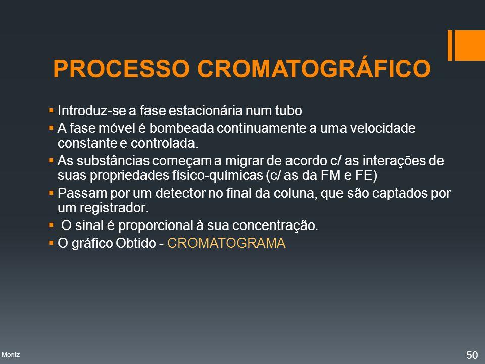 PROCESSO CROMATOGRÁFICO Introduz-se a fase estacionária num tubo A fase móvel é bombeada continuamente a uma velocidade constante e controlada. As sub