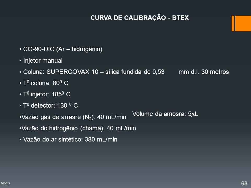 CURVA DE CALIBRAÇÃO - BTEX CG-90-DIC (Ar – hidrogênio) Injetor manual Coluna: SUPERCOVAX 10 – sílica fundida de 0,53 mm d.I. 30 metros T 0 coluna: 80