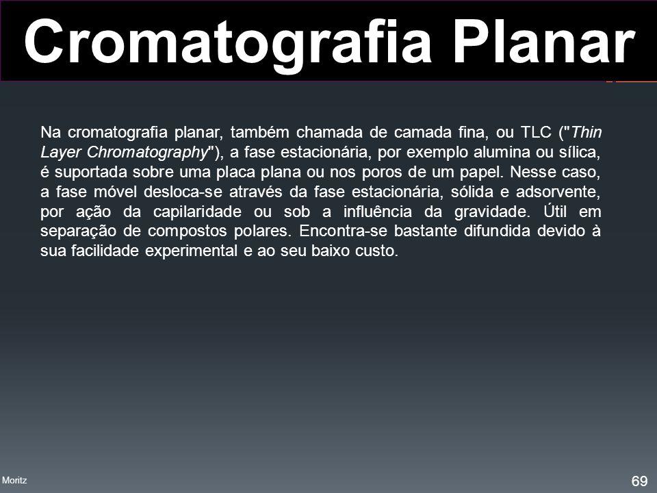 Na cromatografia planar, também chamada de camada fina, ou TLC (