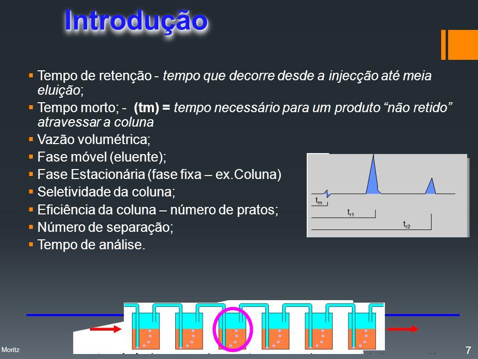 Tempo de Retenção Ajustado, t R O parâmetro diretamente mensurável de retenção de um analito é o TEMPO DE RETENÇÃO AJUSTADO, t R : t R = Tempo de Retenção (tempo decorrido entre a in- jeção e o ápice do pico cromatográfico) TEMPO SINAL Profa.