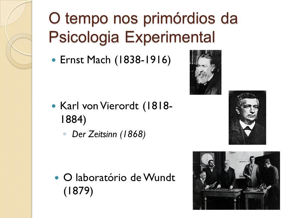 O tempo nos primórdios da Psicologia Experimental Ernst Mach (1838-1916) Karl von Vierordt (1818- 1884) Der Zeitsinn (1868) O laboratório de Wundt (1879)