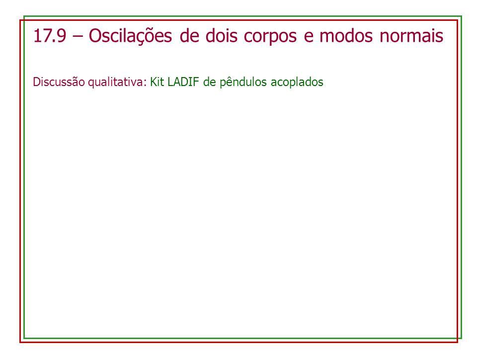 17.9 – Oscilações de dois corpos e modos normais Discussão qualitativa: Kit LADIF de pêndulos acoplados