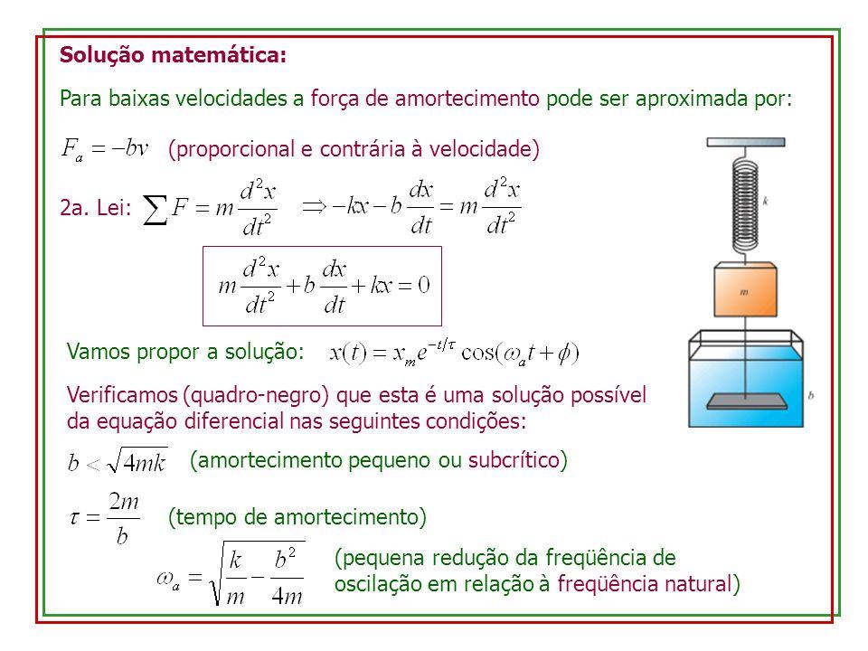 Solução matemática: Para baixas velocidades a força de amortecimento pode ser aproximada por: (proporcional e contrária à velocidade) 2a. Lei: Vamos p