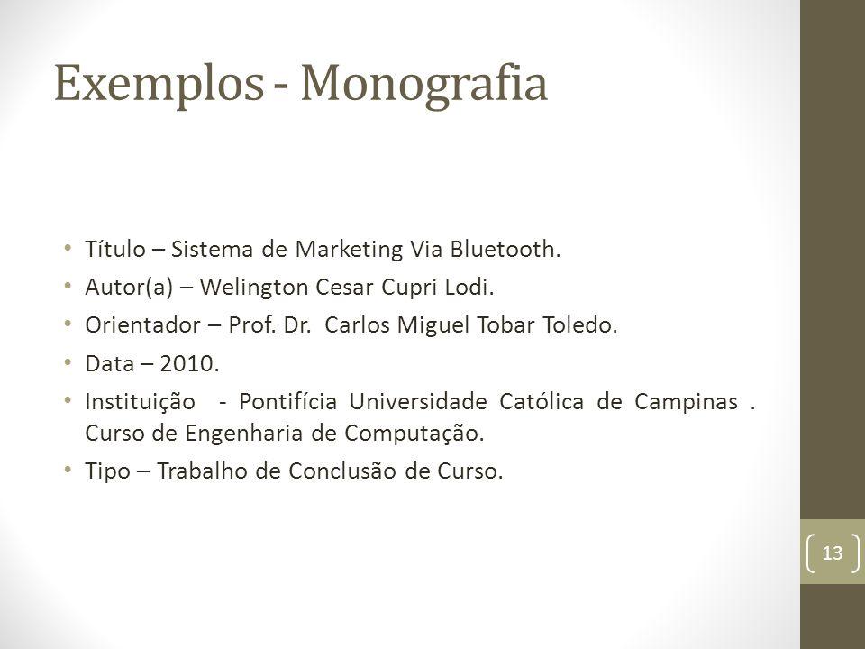 Exemplos - Monografia Título – Sistema de Marketing Via Bluetooth.