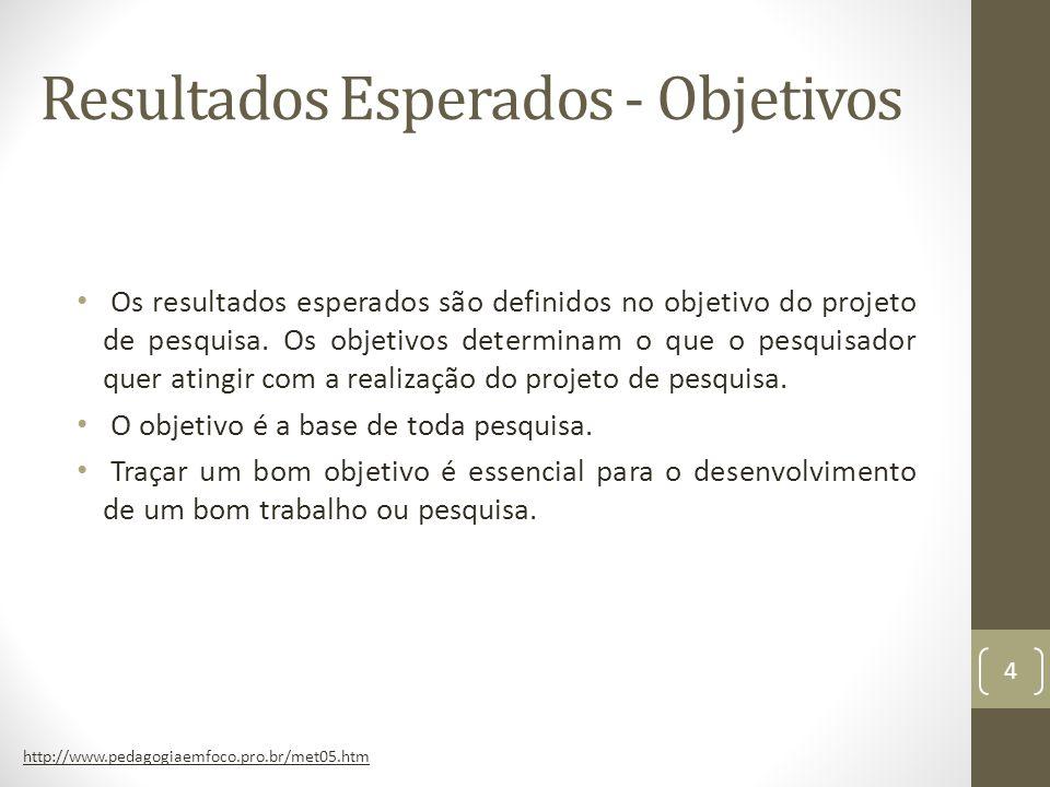 Resultados Esperados - Objetivos Os resultados esperados são definidos no objetivo do projeto de pesquisa.