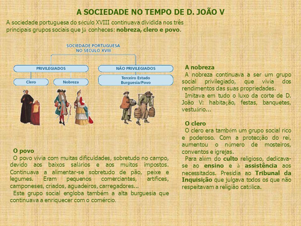 A SOCIEDADE NO TEMPO DE D. JOÃO V A sociedade portuguesa do s é culo XVIII continuava dividida nos três principais grupos sociais que j á conheces: no