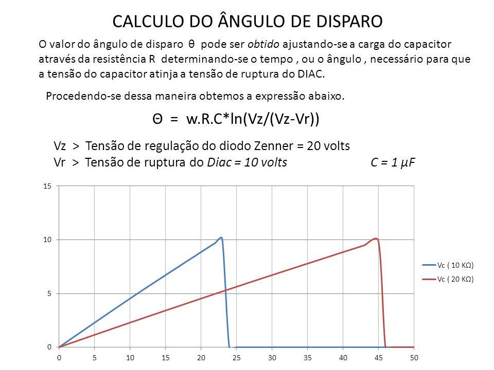 CALCULO DO ÂNGULO DE DISPARO O valor do ângulo de disparo θ pode ser obtido ajustando-se a carga do capacitor através da resistência R determinando-se