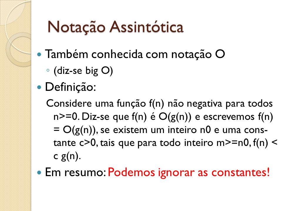 Notação Assintótica Também conhecida com notação O (diz-se big O) Definição: Considere uma função f(n) não negativa para todos n>=0. Diz-se que f(n) é