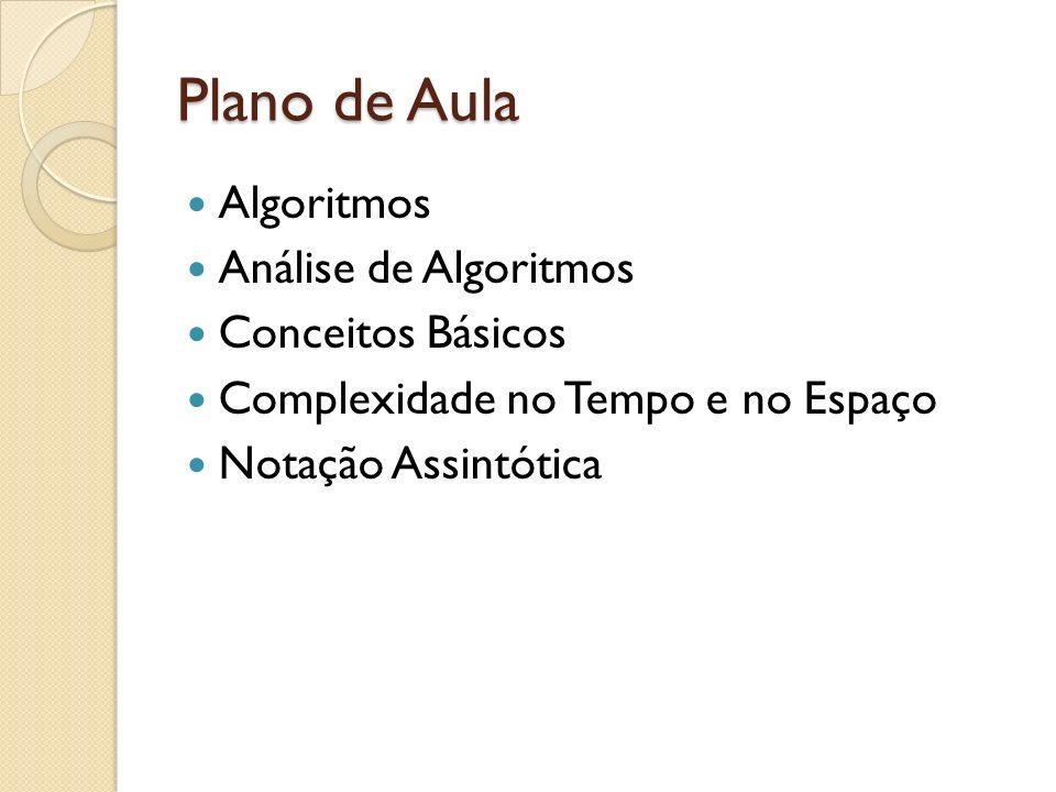 Plano de Aula Algoritmos Análise de Algoritmos Conceitos Básicos Complexidade no Tempo e no Espaço Notação Assintótica