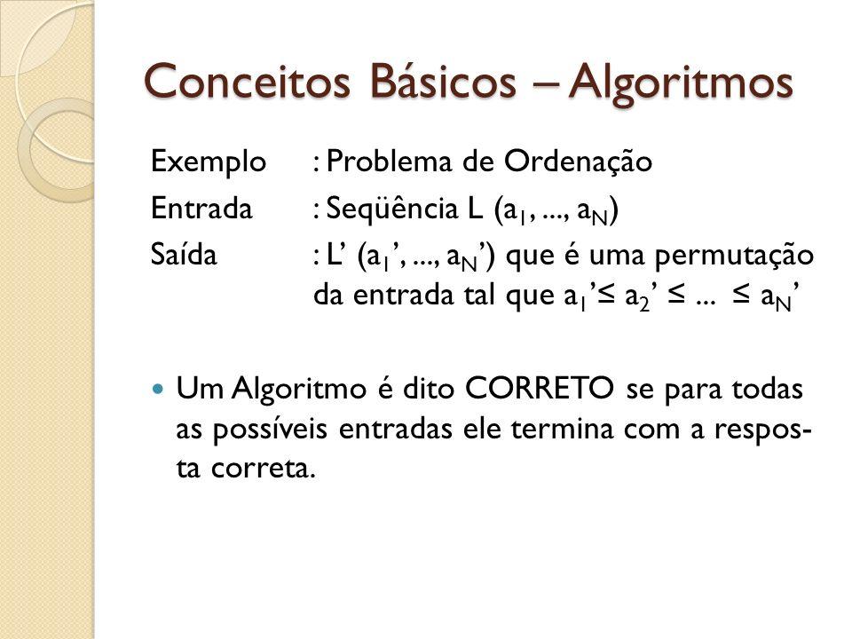 Algoritmos Eficiente - Motivação Dois computadores PC (10 6 instr/s) SC (10 8 instr/s) Dois algoritmos de ordenação Alg 1 – T Alg1 = 2N 2 Alg 2 – T Alg2 = 50NlogN Problema : Ordenar 10 6 números SC – PC –