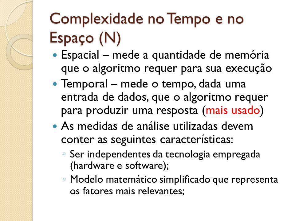 Complexidade no Tempo e no Espaço (N) Temporal – função que relaciona o tamanho da entrada com o tempo de execução: t = f(N) Espacial – função que relaciona o tamanho da entrada com o espaço de armazenamento requerido: e = g(N)