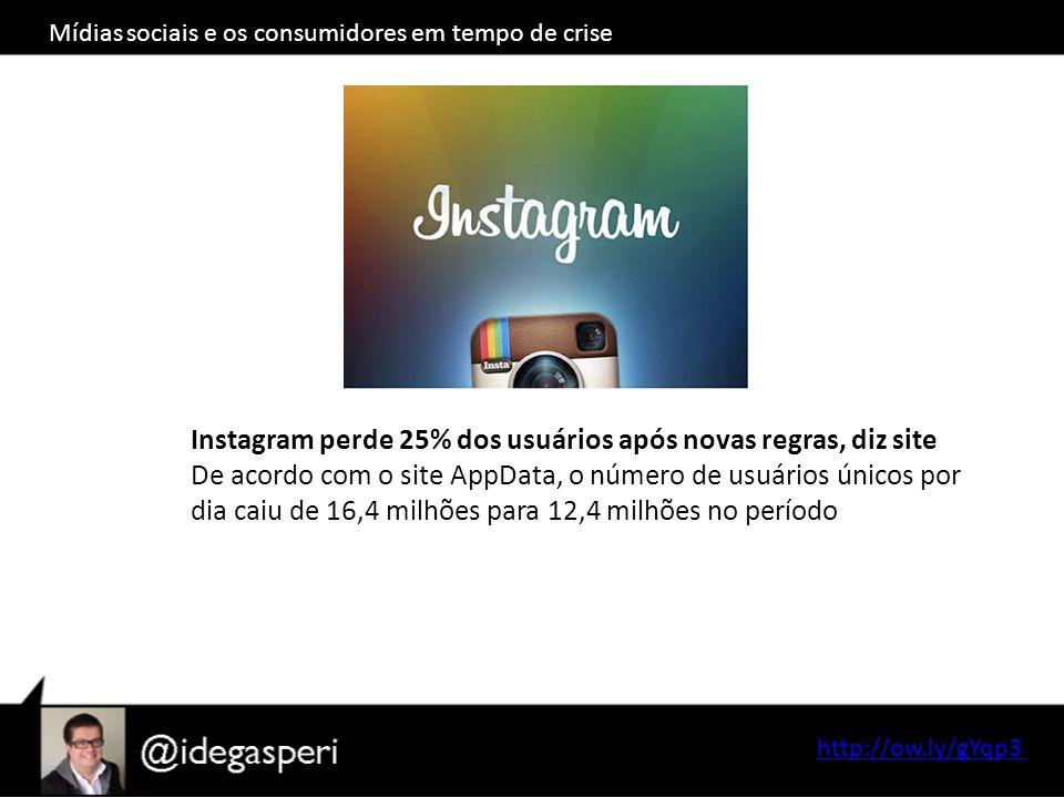http://ow.ly/gYqp3 Instagram perde 25% dos usuários após novas regras, diz site De acordo com o site AppData, o número de usuários únicos por dia caiu de 16,4 milhões para 12,4 milhões no período