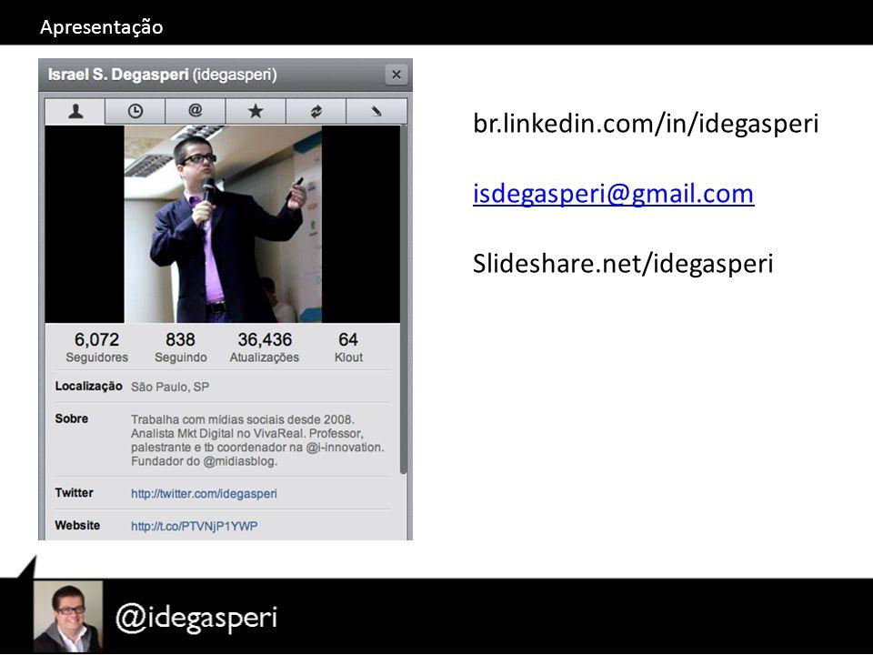 Apresentação br.linkedin.com/in/idegasperi isdegasperi@gmail.com Slideshare.net/idegasperi