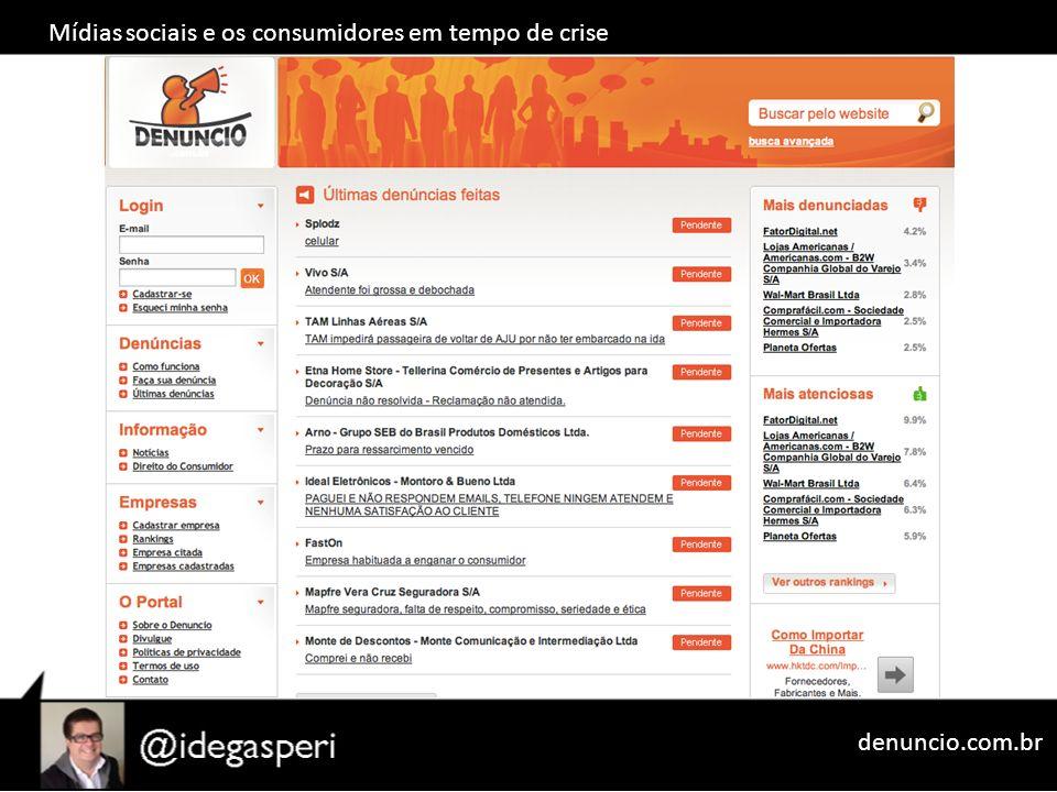 Mídias sociais e os consumidores em tempo de crise denuncio.com.br
