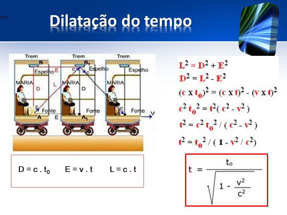 logo: D = c. t 0 E = v. t L = c. t
