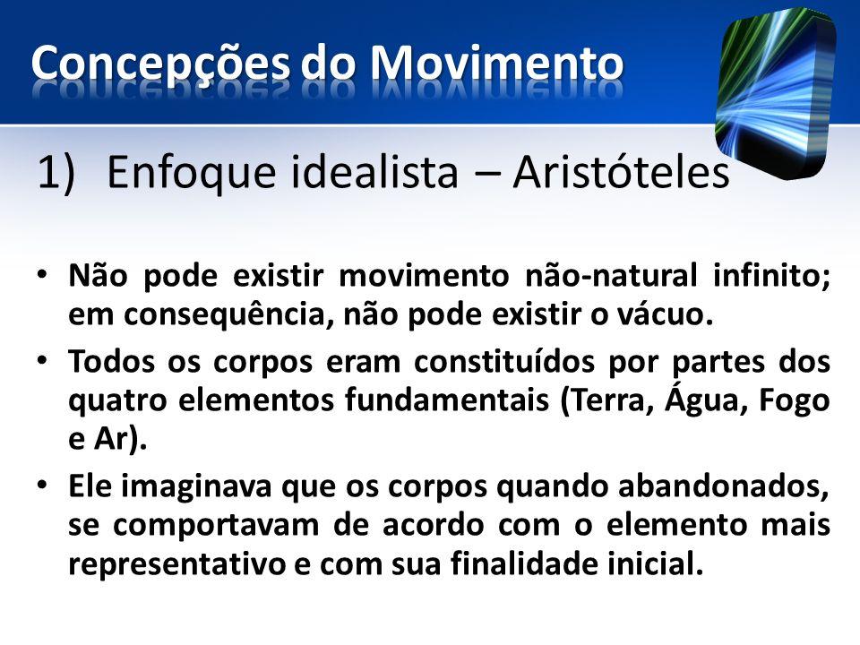 1)Enfoque idealista – Aristóteles Não pode existir movimento não-natural infinito; em consequência, não pode existir o vácuo.