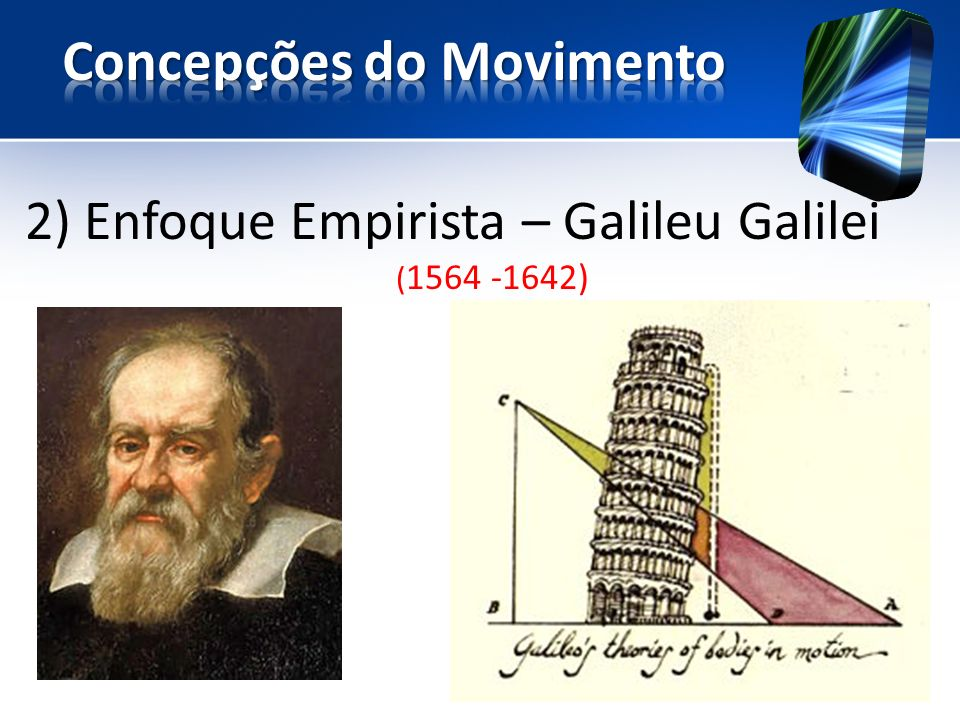 2) Enfoque Empirista – Galileu Galilei ( 1564 -1642)