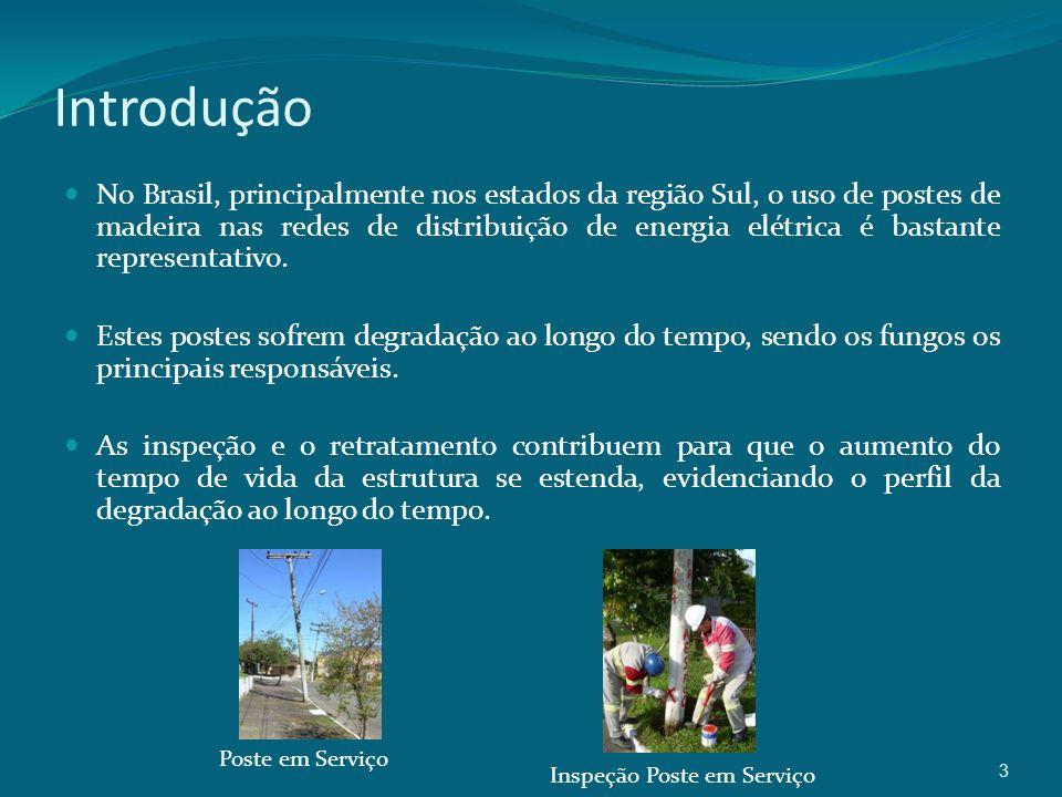 3 Introdução No Brasil, principalmente nos estados da região Sul, o uso de postes de madeira nas redes de distribuição de energia elétrica é bastante representativo.