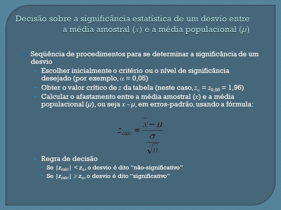 Seqüência de procedimentos para se determinar a significância de um desvio Escolher inicialmente o critério ou o nível de significância desejado (por