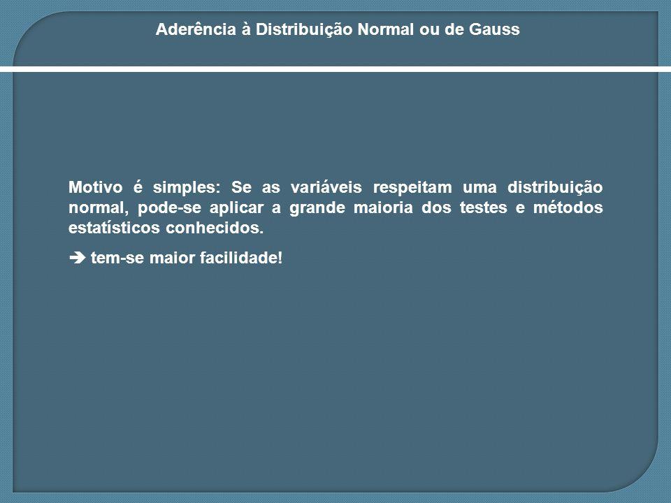 Aderência à Distribuição Normal ou de Gauss Motivo é simples: Se as variáveis respeitam uma distribuição normal, pode-se aplicar a grande maioria dos