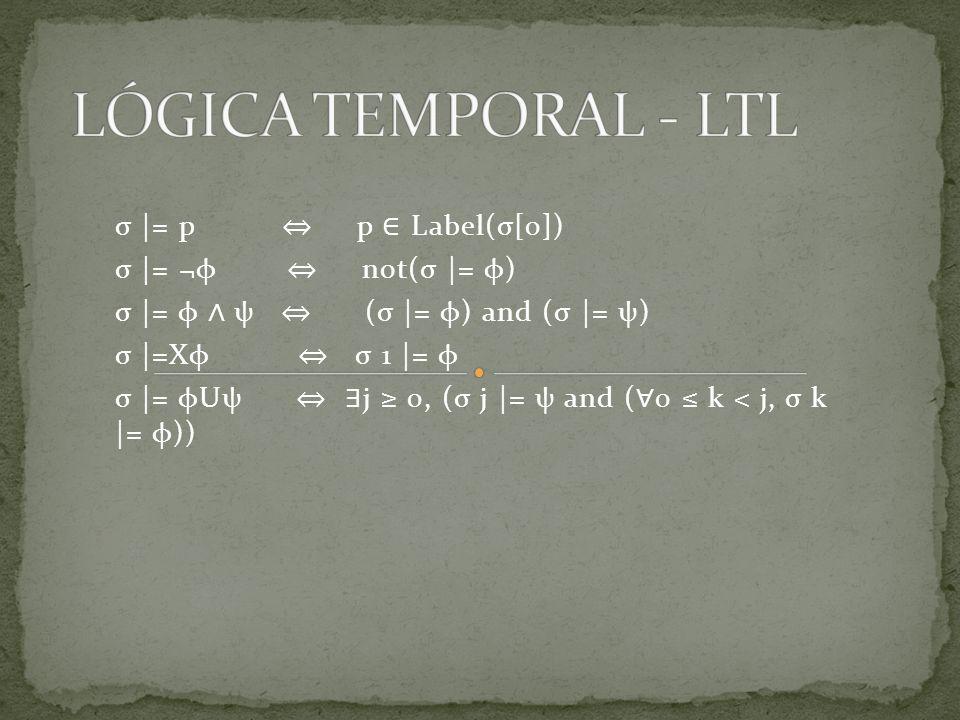 σ |= p p Label(σ[0]) σ |= ¬φ not(σ |= φ) σ |= φ ψ (σ |= φ) and (σ |= ψ) σ |=Xφ σ 1 |= φ σ |= φUψ j 0, (σ j |= ψ and ( 0 k < j, σ k |= φ))