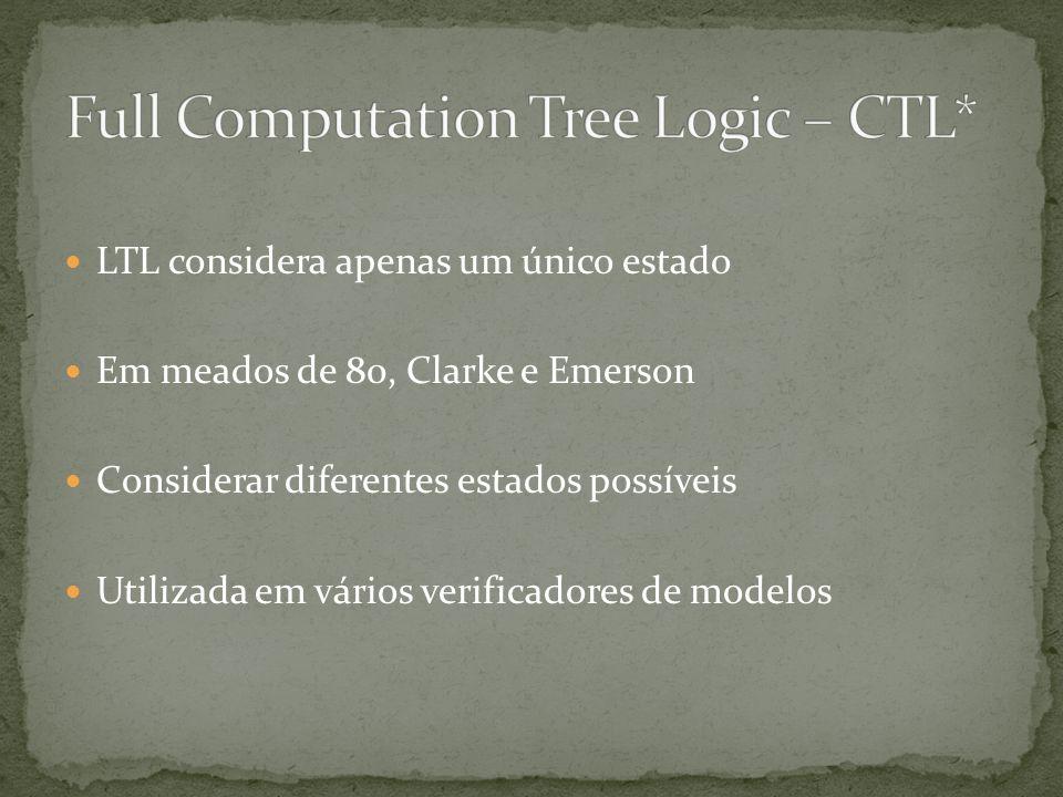 LTL considera apenas um único estado Em meados de 80, Clarke e Emerson Considerar diferentes estados possíveis Utilizada em vários verificadores de mo