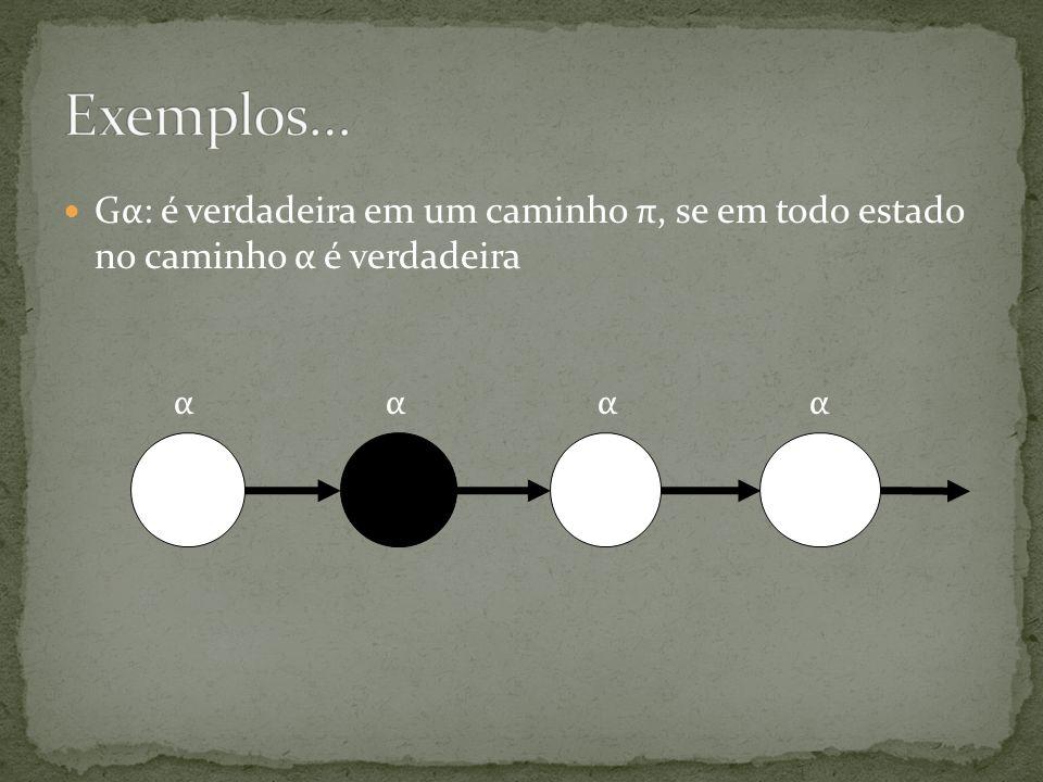 Gα: é verdadeira em um caminho π, se em todo estado no caminho α é verdadeira αααα