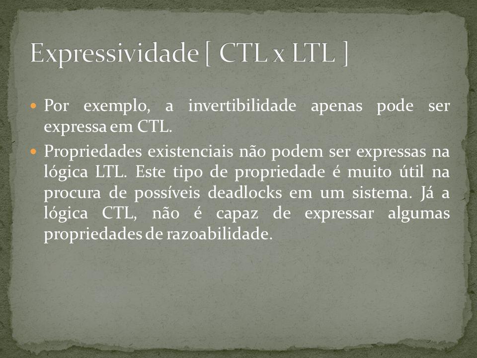 Por exemplo, a invertibilidade apenas pode ser expressa em CTL. Propriedades existenciais não podem ser expressas na lógica LTL. Este tipo de propried