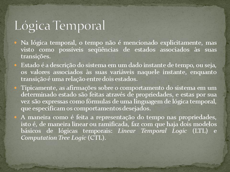 Na lógica temporal, o tempo não é mencionado explicitamente, mas visto como possíveis seqüências de estados associados às suas transições. Estado é a