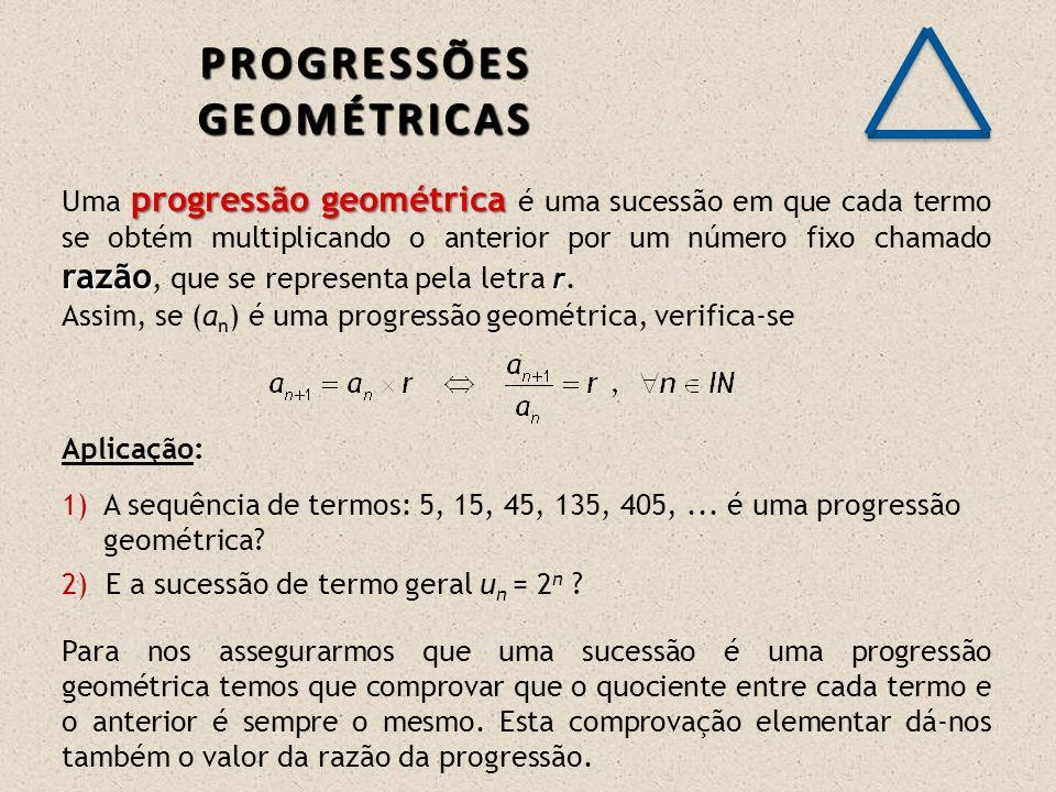 progressão geométrica razão r Uma progressão geométrica é uma sucessão em que cada termo se obtém multiplicando o anterior por um número fixo chamado razão, que se representa pela letra r.