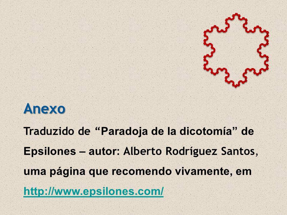 Anexo Traduzido de Paradoja de la dicotomía de Epsilones – autor: Alberto Rodríguez Santos, uma página que recomendo vivamente, em http://www.epsilones.com/ http://www.epsilones.com/