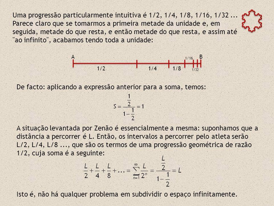 De facto: aplicando a expressão anterior para a soma, temos: A situação levantada por Zenão é essencialmente a mesma: suponhamos que a distância a percorrer é L.