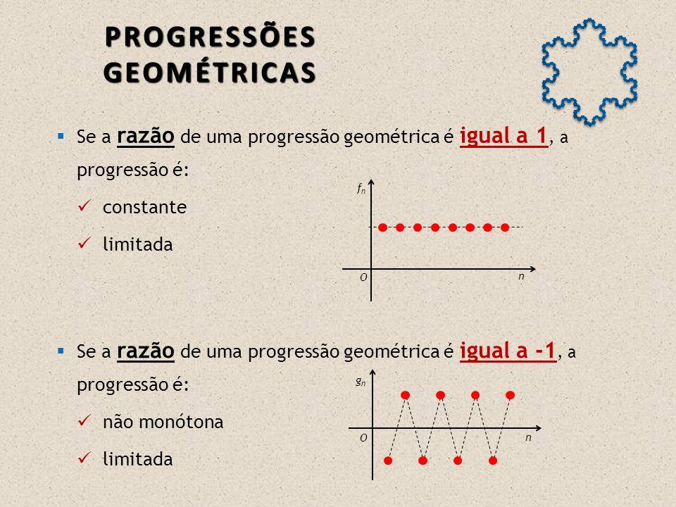 Se a razão de uma progressão geométrica é maior que -1 e menor que 0, a progressão é: não monótona e… limitada.
