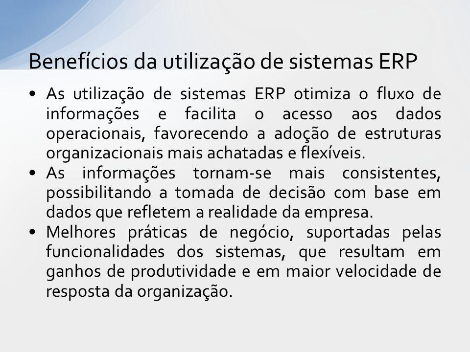 As utilização de sistemas ERP otimiza o fluxo de informações e facilita o acesso aos dados operacionais, favorecendo a adoção de estruturas organizacionais mais achatadas e flexíveis.