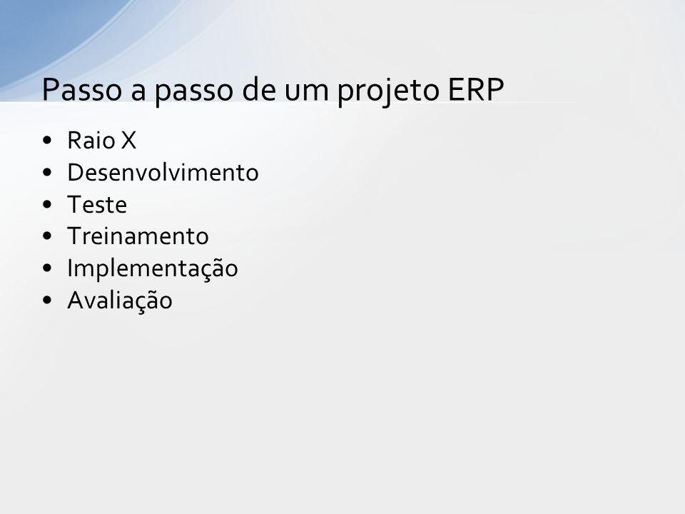 Raio X Desenvolvimento Teste Treinamento Implementação Avaliação Passo a passo de um projeto ERP