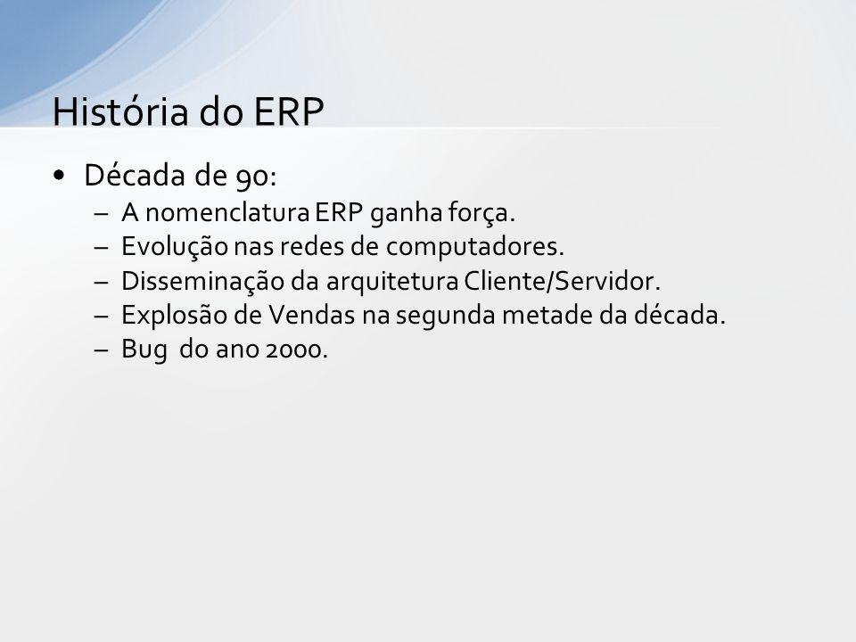 Década de 90: –A nomenclatura ERP ganha força.–Evolução nas redes de computadores.