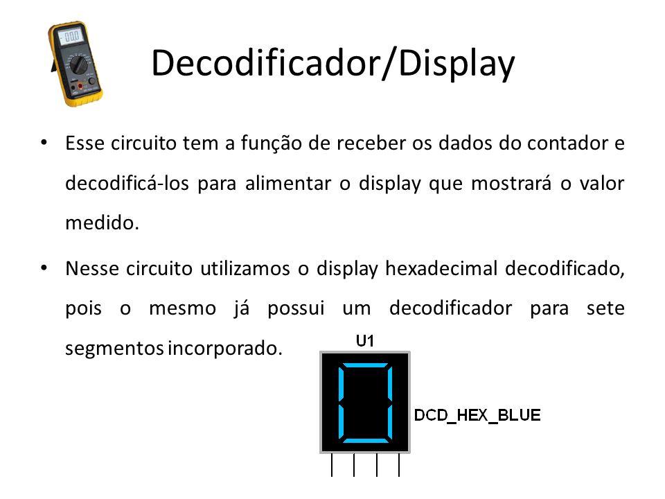 Decodificador/Display Esse circuito tem a função de receber os dados do contador e decodificá-los para alimentar o display que mostrará o valor medido