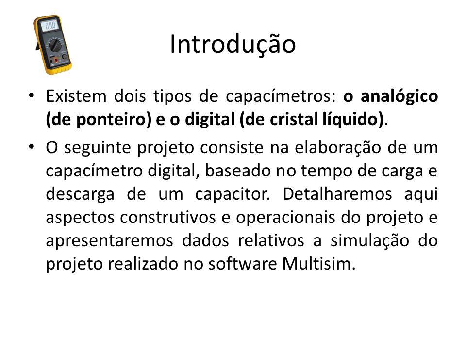 Introdução Existem dois tipos de capacímetros: o analógico (de ponteiro) e o digital (de cristal líquido). O seguinte projeto consiste na elaboração d