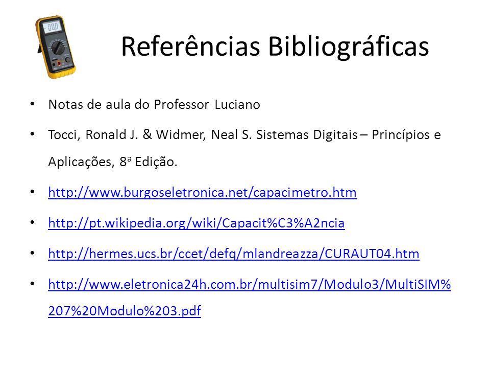 Referências Bibliográficas Notas de aula do Professor Luciano Tocci, Ronald J. & Widmer, Neal S. Sistemas Digitais – Princípios e Aplicações, 8 a Ediç