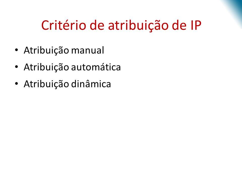 Critério de atribuição de IP Atribuição manual Atribuição automática Atribuição dinâmica