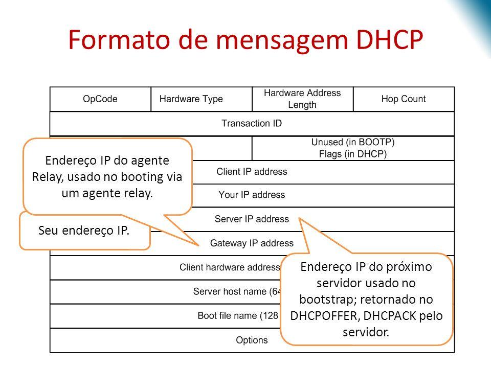 Seu endereço IP. Endereço IP do próximo servidor usado no bootstrap; retornado no DHCPOFFER, DHCPACK pelo servidor. Endereço IP do agente Relay, usado
