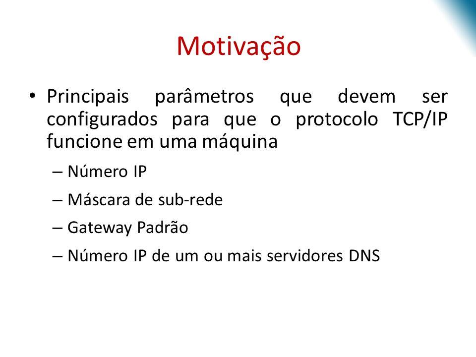 Motivação Principais parâmetros que devem ser configurados para que o protocolo TCP/IP funcione em uma máquina – Número IP – Máscara de sub-rede – Gat