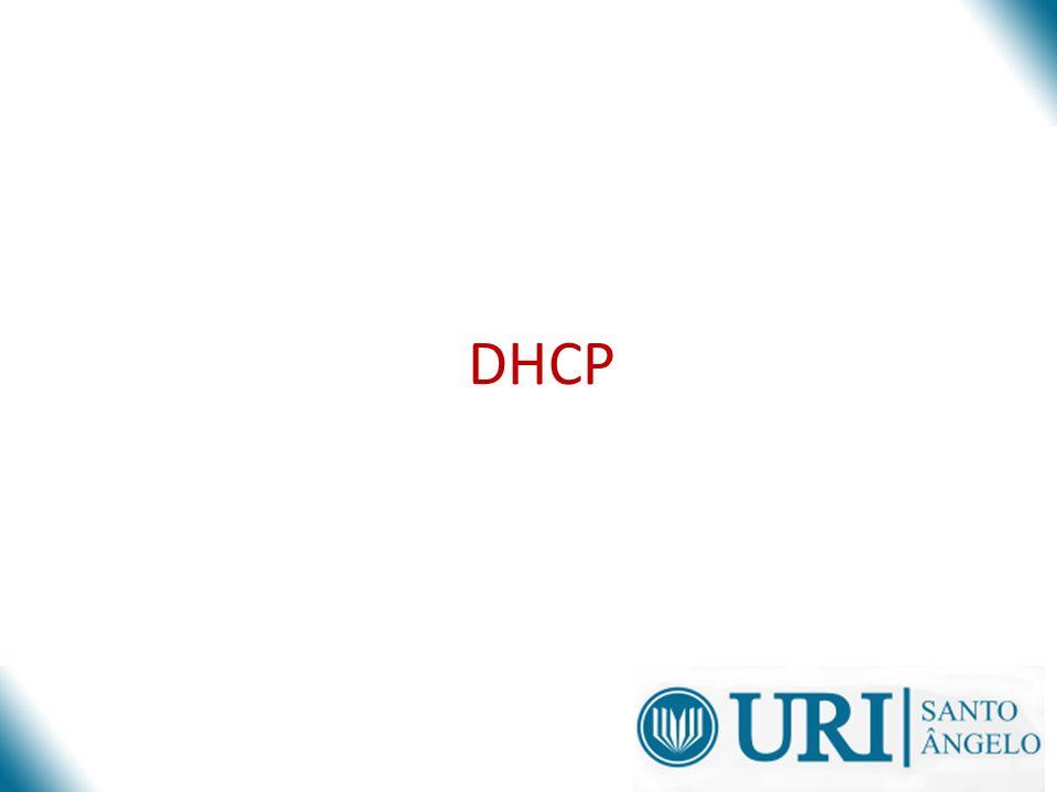 Fluxo de mensagens inicial Server AClientServer B Cliente tenta descobrir disponíveis DHCP Servers DHCPDISCOVER Servers responde com ofertas DHCPOFFER Cliente recolhe ofertas e decide qual aceitar O cliente faz um requisição broadcasts um dos endereços ofertados.