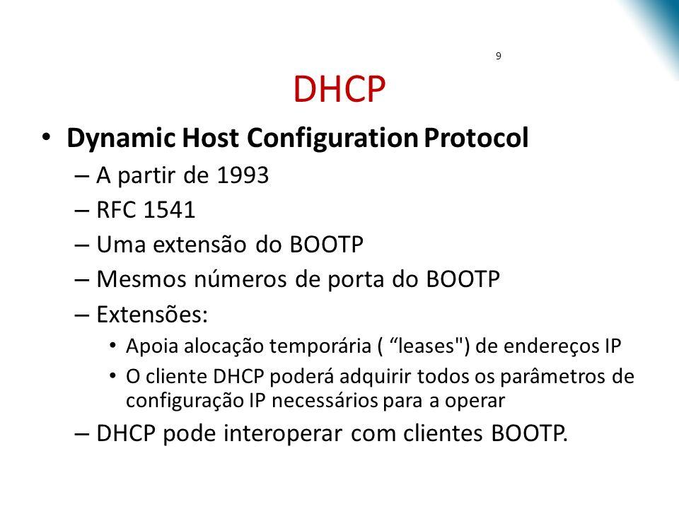 DHCP DHCP é o mecanismo preferido para alocação dinâmica de endereços IP Criado para facilitar a configuração e administração do protocolo TCP/IP em uma rede com um grande número de máquinas Gerencia informações sobre parâmetros de configuração do cliente como o gateway padrão, nome do domínio, os servidores DNS, etc.