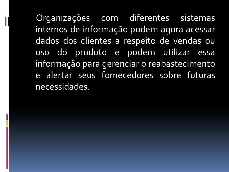 Organizações com diferentes sistemas internos de informação podem agora acessar dados dos clientes a respeito de vendas ou uso do produto e podem utilizar essa informação para gerenciar o reabastecimento e alertar seus fornecedores sobre futuras necessidades.